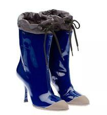 Miu Miu Patent Leather Rubber Cap Toe High Heel Rain Boots Blue uk 2.5 eu 35.5