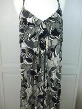 Elle Backless Halter Top Long Dress Neck Metal Strap Black Gray White Floral XL