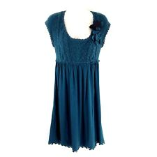 Anthropologie Moth Size Small Water's Edge Sweater Dress Teal Jersey Applique