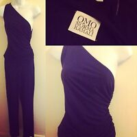 Norma Kamali OMO 80's Navy Silk Jersey One Shoulder Top Pants Set Suit 2pc S M