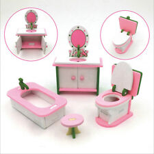 4pcs Retro Doll House Miniature Bathroom Wooden Furniture Kids Pretend Play Toys