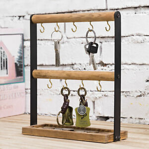 MyGift Burnt Wood and Black Metal Entryway Key Hook Stand Rack with Storage Tray