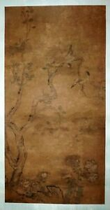 17C Chinese Ming Dynasty Silk Painting Scroll Two Birds on Branch (FLA) #42