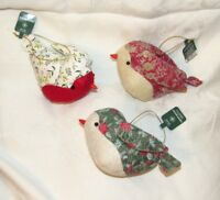 Target WONDERSHOP Christmas Bird Ornaments Set 3 Quilted Calico Birds 2016