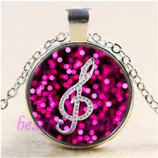 Music Glef Note Photo Cabochon Glass Tibet Silver Chain  Pendant Necklace#CD6