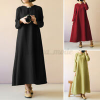 UK Women Long Sleeve Casual Loose Solid Cotton Kaftan Baggy Maxi Dress Plus Size