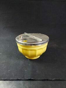VINTAGE GEMCO DINER STYLE FLIP TOP SUGAR BOWL light yellow glass