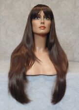 Long Straight Silky Chestnut Brown Full Synthetic Wig - 678