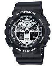 NEW CASIO G-SHOCK GA100BW-1A MEN'S ANA-DIGI BLACK & WHITE X-LARGE WATCH NWT!!!