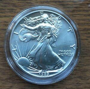 H245 US USA UNITED STATES 1989 1OZ $1 SILVER BU UNC EAGLE COIN IN CAPSULE