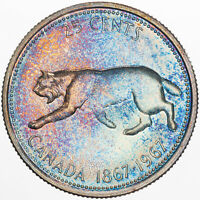 1967 CANADA 25 CENTS SILVER AMAZING BU UNC MONSTER COLOR APPEAL PRIME GEM (MR)