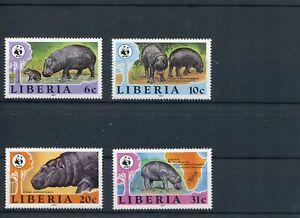 1984 WWF LIBERIA Pygmy Hippopotamus 4V complete set MNH POST FREE