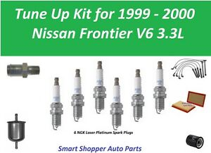 Spark Plug Wire Set Air Oil Fuel Filter PCV Tune Up For 1999 2000 Nisan Frontier