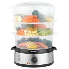 VonShef Food Steamer Electric 3 Tier Cooker Vegetable Fish Stainless Steel Timer