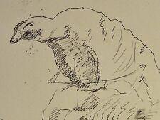 E. E. Deutsch Krone (1910-c.2000) Stiftzeichnung:FORIO D´ISCHIA Insel bei Neapel