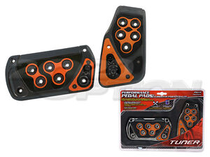 GUNMETAL ORANGE AUTOMATIC BRAKE GAS PEDAL PADS FOR CAMARO CORVETTE COLORADO