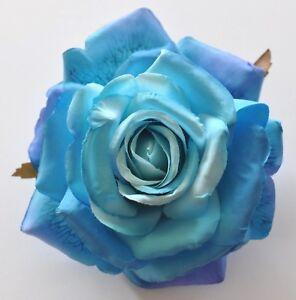 "5"" Variegated Blue Rose Silk Flower BROOCH Pin Wedding Bridesmaid"