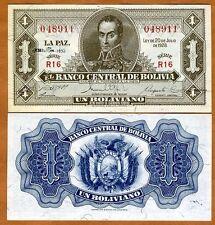 Bolivia, 1 Bolivano, L. 1928 (emission 1952), P-128c, XF - aUNC