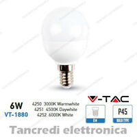 Lampadina led V-TAC 6W = 40W E14 VT-1880 P45 miniglobo bianca lampadine smd VTAC