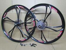 "26"" MTB Mountain Bike Bicycle Magnesium Alloy Wheel Set 9 Speed Disc Brake Rotor"