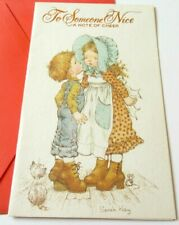 Vintage Greeting Card Sarah Kay Old Fashioned Girl Getting a Kiss from Boy