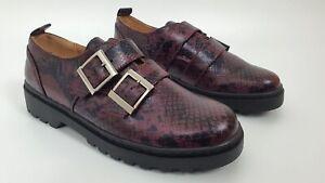 Topshop FRANKIE Snake Print Ladies Burgundy Double Buckle Brogue Shoes UK 5 7 8