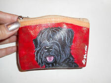 Black Russian Terrier dog Hand Painted Coin Change Purse