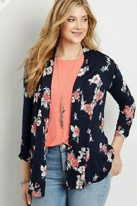 Women's Maurices floral cardigan crocheted detail size medium $32 price NWT