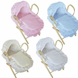 New Broderie Anglaise Moses Basket For Baby Dolls with Stand Best Girls Gift