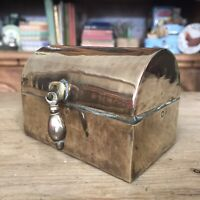 "Vintage Brass Trinket Jewelry Stamp Box Brass Treasure Chest Hinged Lid  2.2"" H"