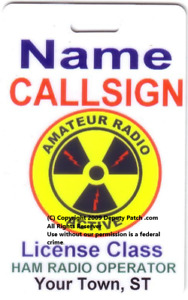 "ID Name Card-Custom ""Amateur Radio Active"" Logo with Mylar Clip"