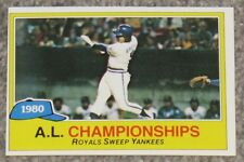 1981 Topps - 1980 AL Champions ROYALS SWEEP YANKEES - NR-MINT - FREE SHIPPING!