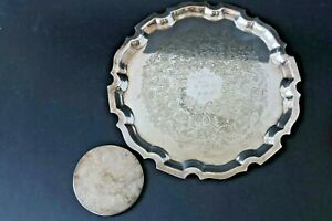 Silver Plated Personalised Engraved Small Tray 26cm & Coaster 9cm - 1960s
