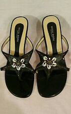 "Women's Thong Sandals Bisou Bisou 8 M Shells & Beads, Black Leather M 2 1/2""heel"