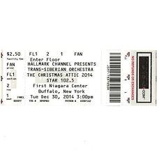 Trans Siberian Orchestra Concert Ticket Stub Buffalo Ny 12/30/14 Christmas Attic