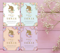 Unicorn Invitations & Thank You Cards | Cute Personalised Birthday Party Invites
