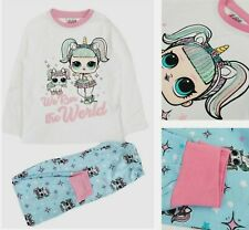 New Girls Kids Pink Cotton LOL SURPRISE Glam Unicorn Full Length Pyjamas Set Pjs