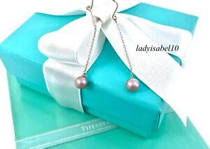"Tiffany & Co. 2.25"" Pink Pearl Dangle Earrings Peretti Sterling Silver Gift 214B"