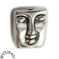 FACE BEADS EASTER ISLAND TIKI 12mm PENDANT FOCAL ANTIQUE SILVER 10pc