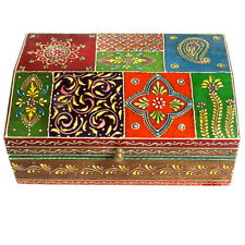Rajasthani Art Work Hand painted Wooden Multi Color Embossed Box Home Decor