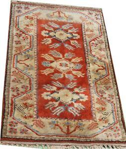 Turkish handmade Milas wool rug, Oriental carpet in red and cream 4 x 2.6 FT