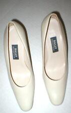 New Womens Bally Switzerland Heels Shoes Bone Off White 7 Leather Dress Pumps