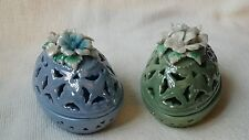 2 Greenbrier International Inc Porcelain Egg Trinket Box/Candy Dish Beautiful