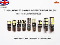 T10 CAR BULBS 4-24 LED ERROR FREE CANBUS SMD XENON WHITE W5W 501 SIDE LIGHT BULB