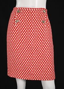 CHANEL 08P Red & White Boucle Tweed Logo Button Front Pencil Skirt 40