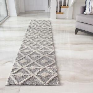 Grey Hallway Runner Rugs   Long Trellis Carpet Runners for Entrance Hall   Cheap
