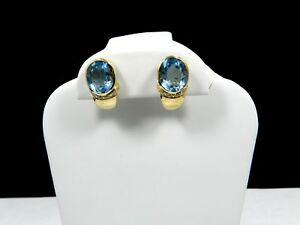 Exquisite 18K Yellow Gold 8.4 Ct Aquamarine Earrings