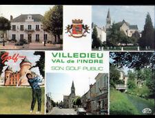 VILLEDIEU-sur-INDRE (36) GOLF , COMMERCES , MAIRIE , SPORT GOLF & BLASON