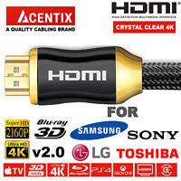 ULTRA HD 4k HDMI HD High Speed Cable 2160p FOR SAMSUNG LG PANASONIC TOSHIBA SONY