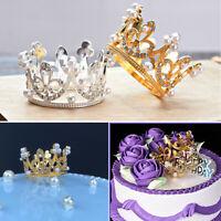 1pc Mini Crown Cake Topper Crystal Pearl Tiara Hair Ornaments For Birthday